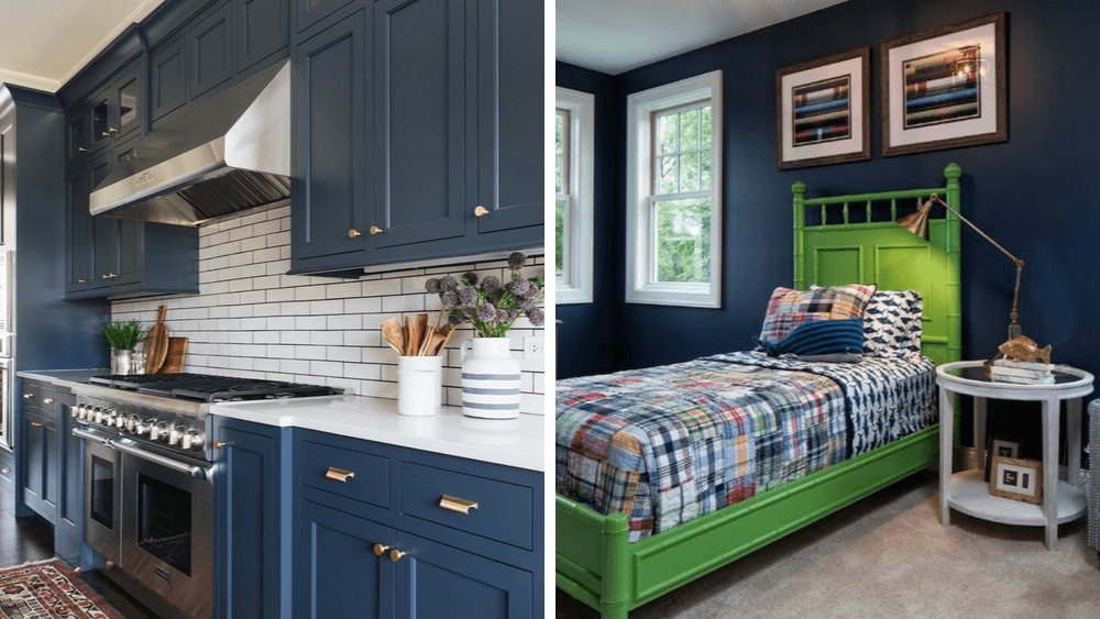 Newburyport Blue by Benjamin Moore historical collection in a boys bedroom and kitchen