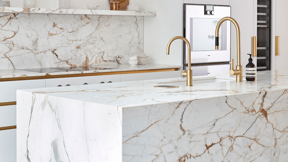 Bold marble finish in a ktichen. Top design trend for 2020